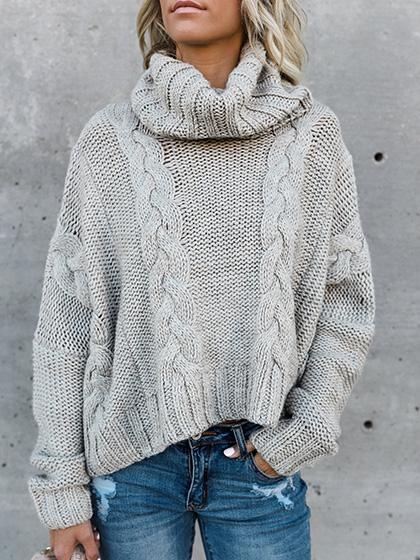 Stylish Casual Solid Color Sweater