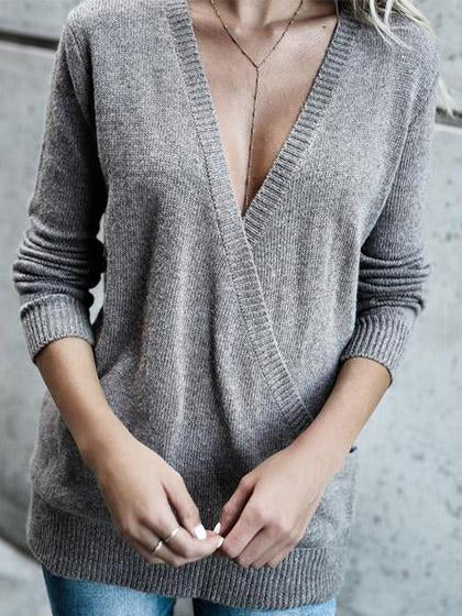 Stylish Deep V Neck Solid Color Loose Sweater - girlyrose.com