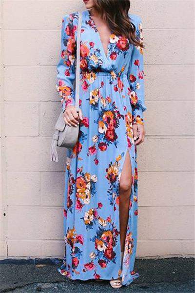 Stylish Floral Print Deep V Neck Dress