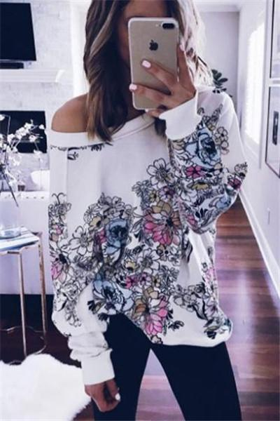 Stylish Floral Print Top - girlyrose.com