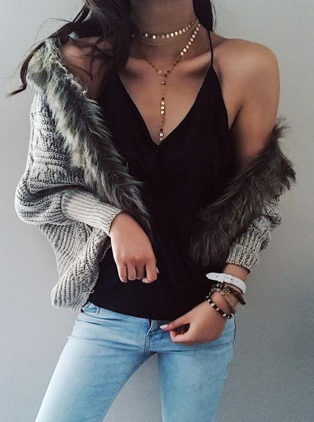 Stylish Knit Batwing Sleeve Oversize Cardigan