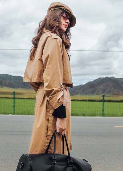 Stylish Lapel Khaki Long Coat - girlyrose.com