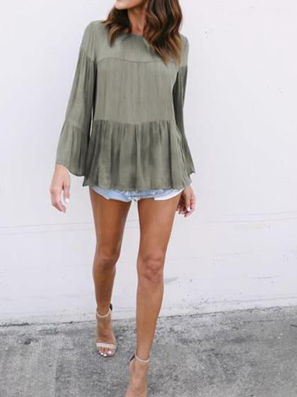 Stylish O-Neck Flared Sleeve Top - girlyrose.com
