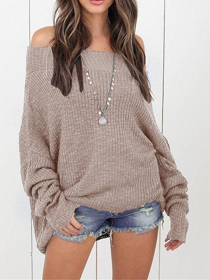 Stylish Off Shoulder Solid Color Long Sleeve Sweater - girlyrose.com