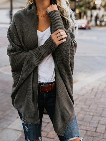Stylish Open Collar Oversize Casual Solid Color Cardigan