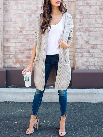 Stylish Open Collar Solid Color Cardigan - girlyrose.com