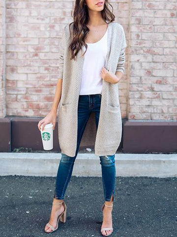 Stylish Open Collar Solid Color Cardigan