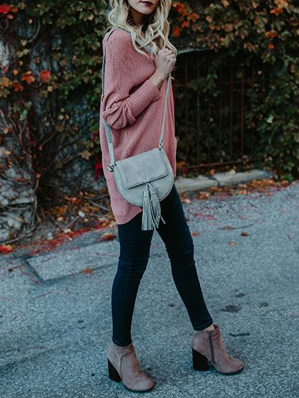 Stylish Oversize Casual Solid Color Sweater - girlyrose.com