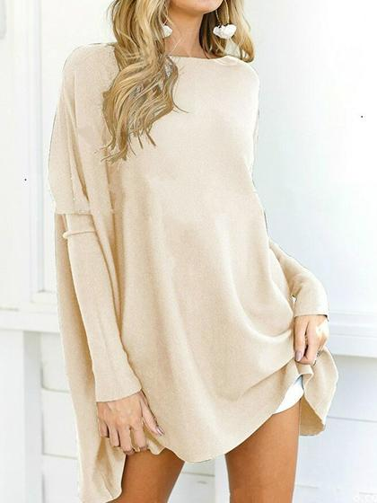 Stylish Oversize Solid Color Long Sleeve Top - girlyrose.com