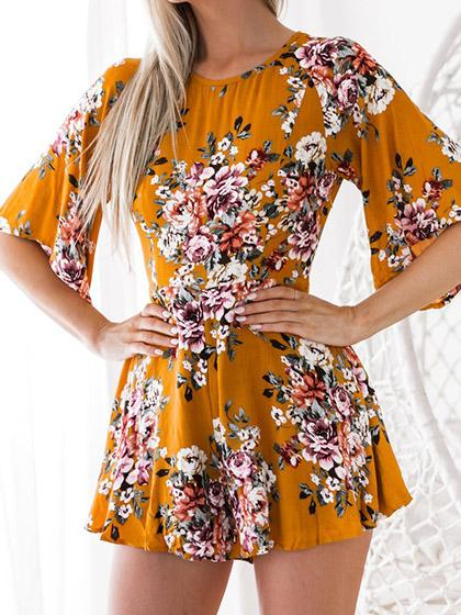 Stylish Sexy Halo Floral Print Dress - girlyrose.com