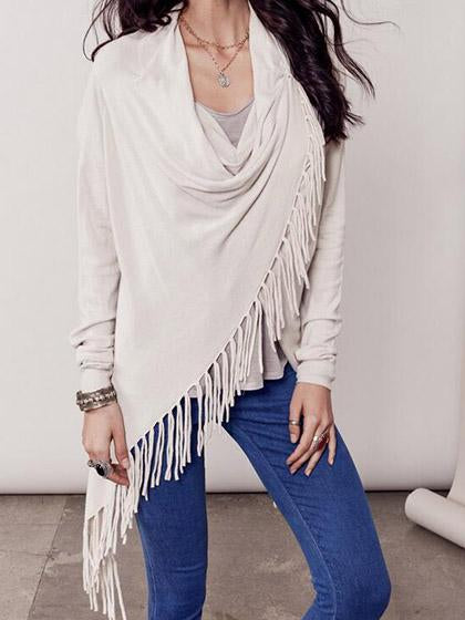 Stylish Single Button Tassel Asymmetrical Hem Shawl
