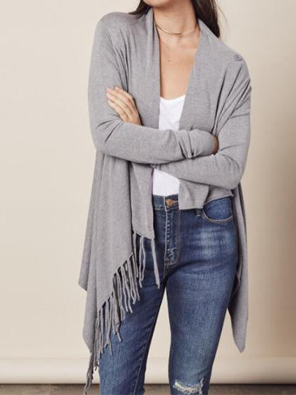 Stylish Single Button Tassel Asymmetrical Hem Shawl - girlyrose.com
