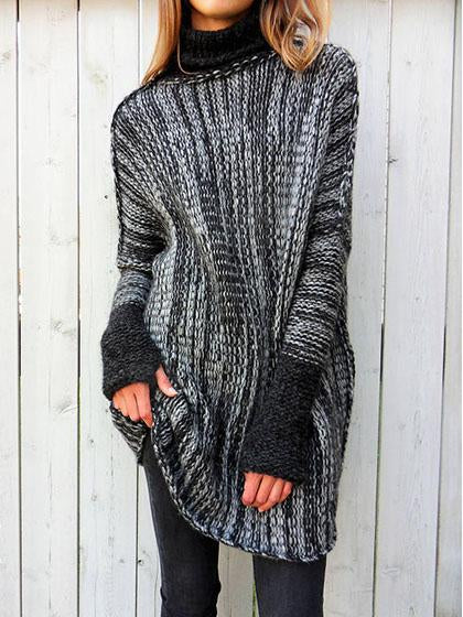 Stylish Spliced Turtleneck Loose Pullover Sweater