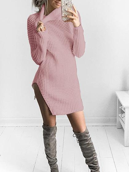 Stylish Split High Neck Solid Color Stretchable Sweater