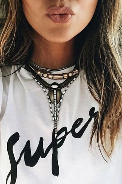 Supes Letter Print O Neck White Top