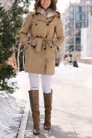 Double Breasted Belted Coat - girlyrose.com