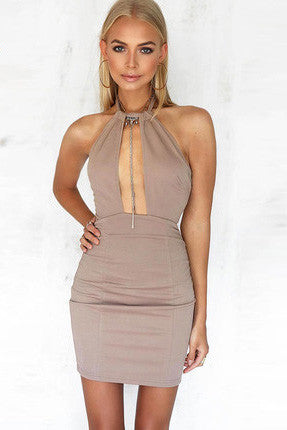 Halter Cutout Sleeveless Backless Bodycon Mini Dress - girlyrose.com