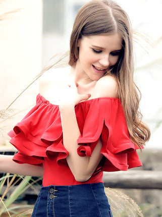 Fashion off Shoulder Ruffle Short Sleeve Solid Blouse - girlyrose.com