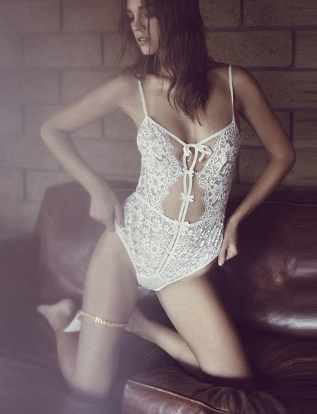 Seductive Lace Semi-sheer Lingerie Romper