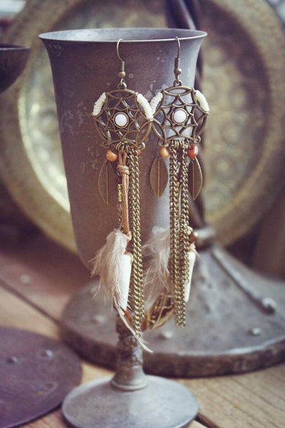 Feather Dreamcather Earring - girlyrose.com
