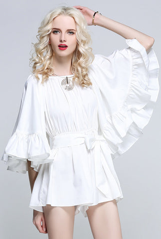 For the Frill of it Off-shoulder Playsuit in White - girlyrose.com