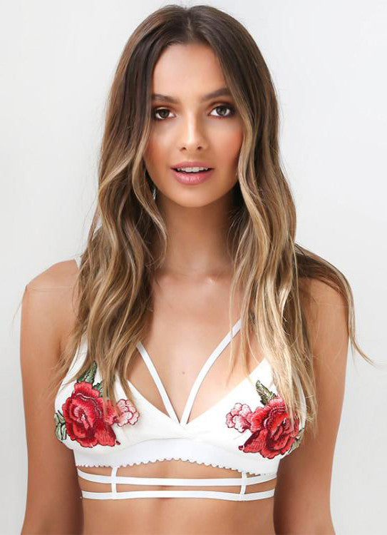 Sexy Caged Rose Embroidered Bralette Lingerie - girlyrose.com