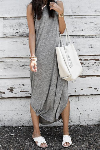 Slit O Neck Maxi Dress - girlyrose.com