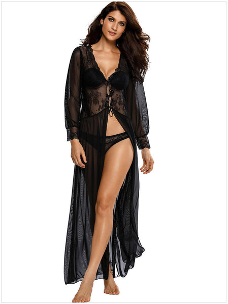 Sexy Sheer Long Sleeve Lace Robe with Thong - girlyrose.com