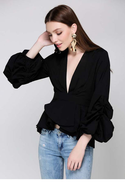 V Neck Long Puff Sleeve Solid Blouse - girlyrose.com
