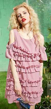 Layered Open Shoulder Loose Fit Dress - girlyrose.com