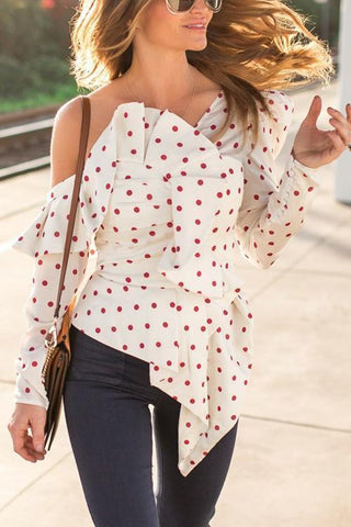 Dot Ruffles Dew Shoulder Top - girlyrose.com