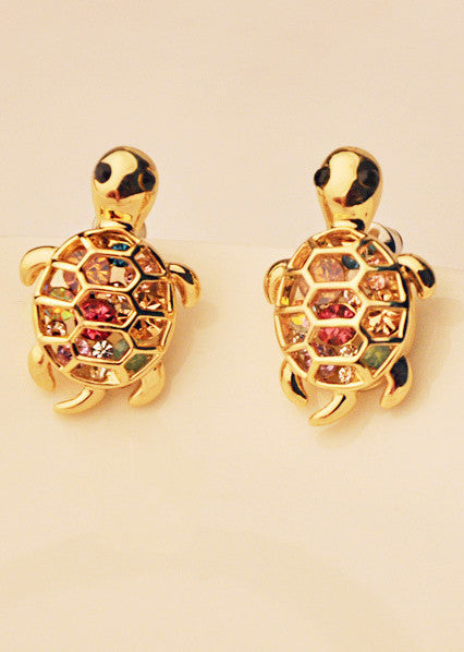 Lovely Cute Rhinestone Turtle Animal Earrings