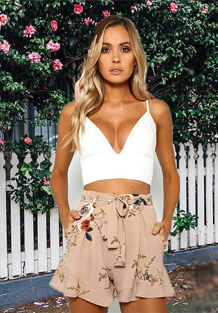 Fashion Floral Printed Ruffle Loose Shorts with Belt - girlyrose.com