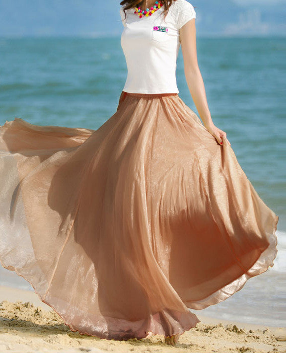 Elegant Chiffon Long Skirt Multi Color - girlyrose.com