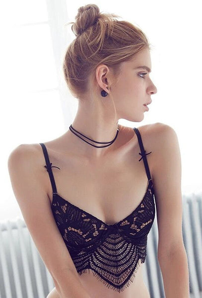 Sexy Lace Trim Strappy Bralette Lingerie - girlyrose.com