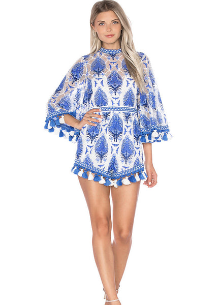 Flare Sleeve Printed Romper with Tassel - girlyrose.com