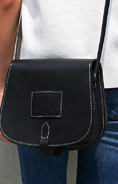 Handmade Leather crossbody bag shoulder bag small black for women leather shoulder purse - girlyrose.com