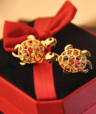 Lovely Cute Rhinestone Turtle Animal Earrings - girlyrose.com