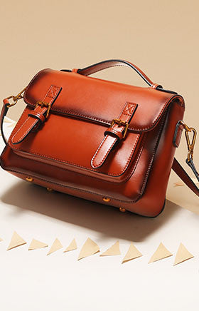 Custom handmade leather satchel bag