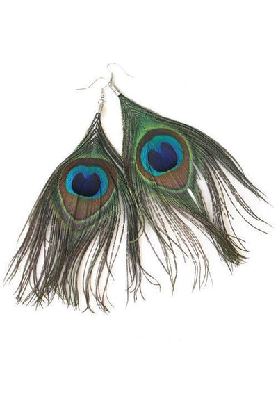Peacock Feather Earring - girlyrose.com