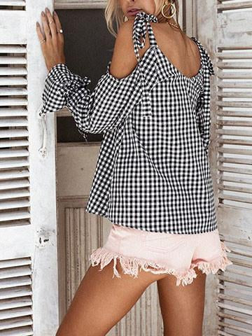 Teenage Girls Halter Off Shoulder Bow Tie Monochrome Blouse
