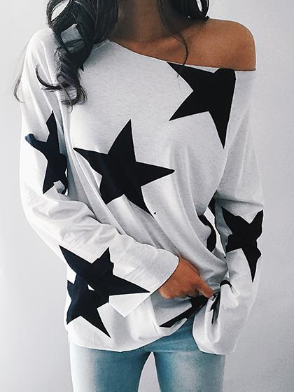 Teenage Girls One Shoulder Star Print Long Sleeve Top - girlyrose.com