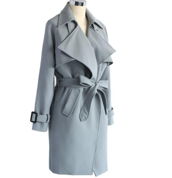Textured Belted Trench Coat in Grey