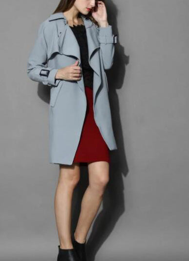 Textured Belted Trench Coat in Grey - girlyrose.com