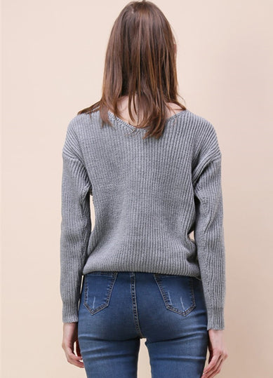 Tie Deep V Neck Pullover Knitted Sweater - girlyrose.com