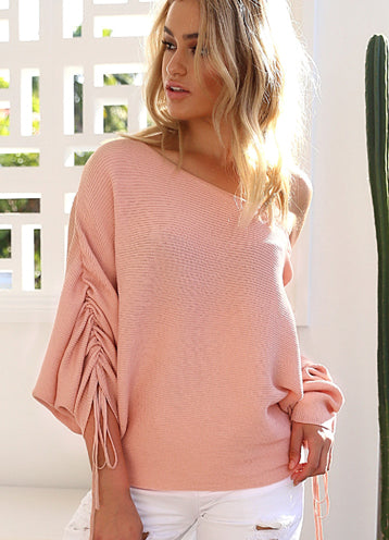 Trendy One Shoulder Batwing Sleeve Casual Sweater - girlyrose.com