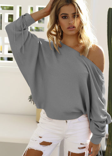 Trendy One Shoulder Batwing Sleeve Casual Sweater