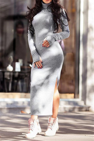 Turtleneck Bodycon Maxi Dress