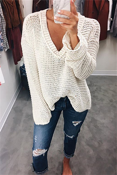 V-neck Loose Sweater - girlyrose.com