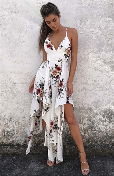 V Neck Irregular Hem Floral Print Bohemian Dress - girlyrose.com